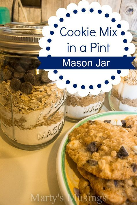 Cookie Mix in a Pint Mason Jar. Great for teachers, friends and Christmas gifts!