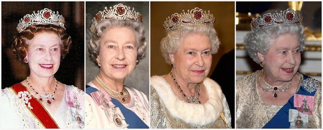 The Burmese Ruby Tiara.  The rubies are set in gold and the diamonds in silver. The tiara is a wreath of roses separated by rays of diamonds; each rose has a ruby ce...