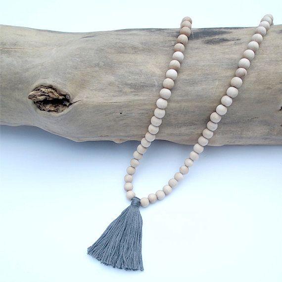 Beaded Wood Tassel Necklace in Gray