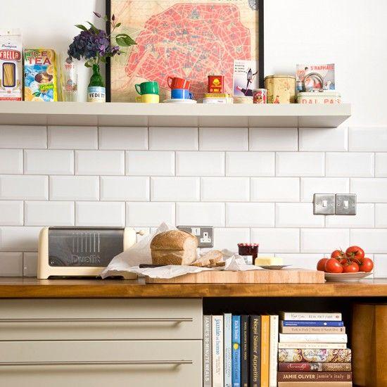Modern kitchen with white brick tiles