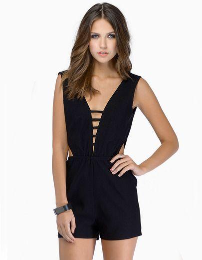 Black V Neck Sleeveless Backless Midriff Jumpsuit