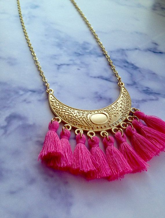 Tassel necklace Summer necklace Bohemian tassel by DadasLab