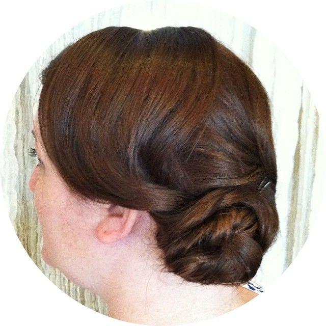 A loosely Downton Abbey inspired style for a vineyard wedding! #updo #weddinghair #blackorchidsalon #austin