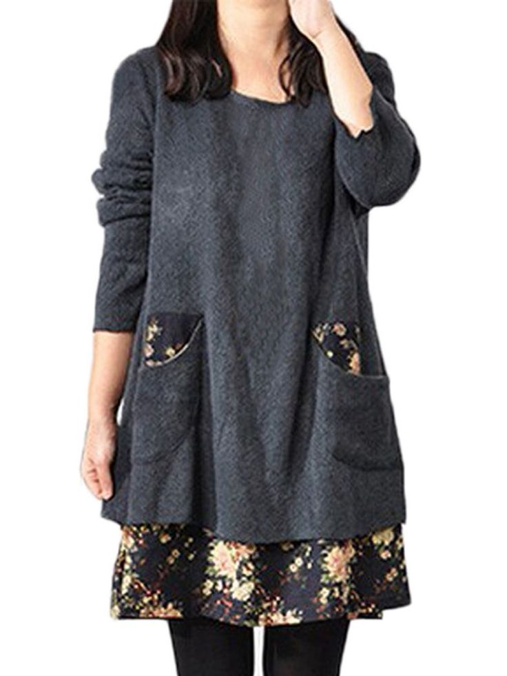 Women Dress Clothing Plus Size Patchwork Long Sleeve Casual Dress