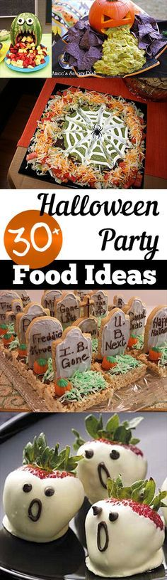 30+ Halloween Party Food Ideas ~ Turn your food and beverages into awesome Halloween themed food to serve at your party!