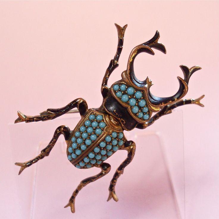 Vintage Jewellery Turquoise Enamel Stag Beetle Insect Brooch   eBay