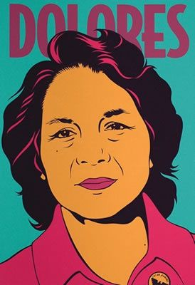 Dolores Huerta (1930 - ) is a noted American labor leader and civil rights activist who, along with César Chávez, co-founded the National Farmworkers Association, which later became the United Farm Workers (UFW). Huerta has received numerous awards for her community service and advocacy for workers', immigrants', and womens' rights. As a role model to many in the Latin community, Huerta is the subject of many corridos (ballads) and murals.
