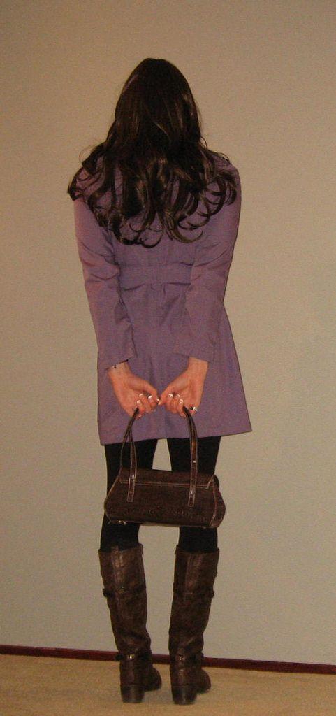 Hi! (KatieMyers9901) Tags: crossdresser crossdressing crossdress jacket coat purse leggings boots kneehighboots brownboots purple black
