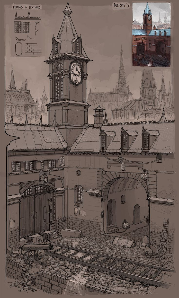 Detailed street & quick mood - victorian environment design, Baptiste Miny