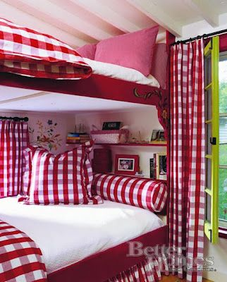 """red gingham bunks == shall I put them here in the Red&White file, or in my """"Bunkhouse Fantasies"""" file? LOL! Either way, I love the colors!"""