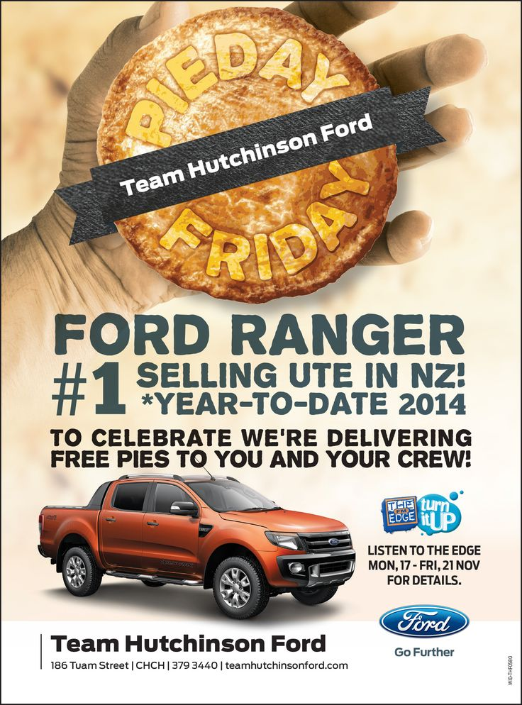 Pie Day Friday campaign advert for Team Hutchinson Ford