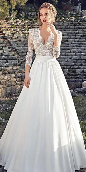 Lace-a Line lange natürliche Taille V-Ausschnitt Langarm Brautkleider Lanesta   – wedding ideas