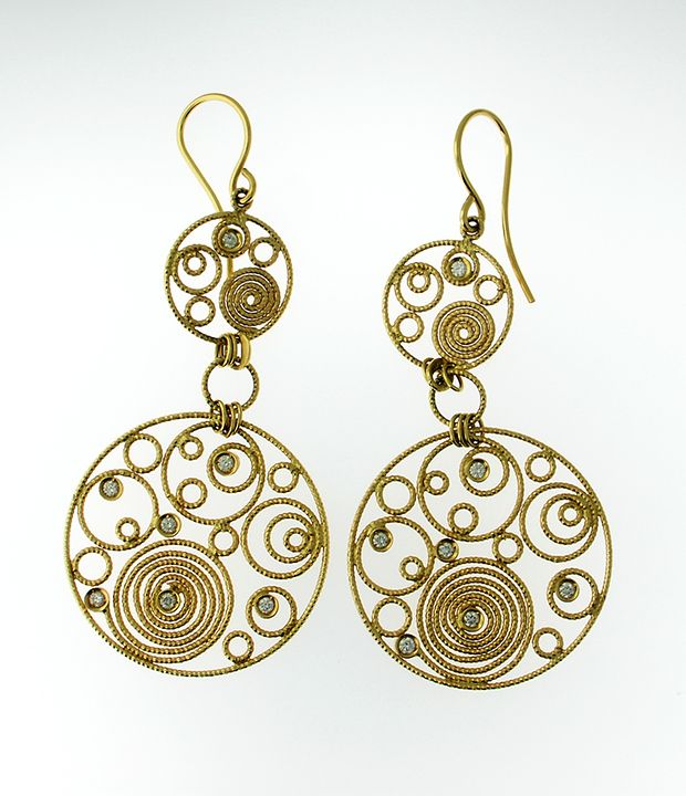 Roberto Coin earrings 18k yellow gold with diamond and ruby $1,000