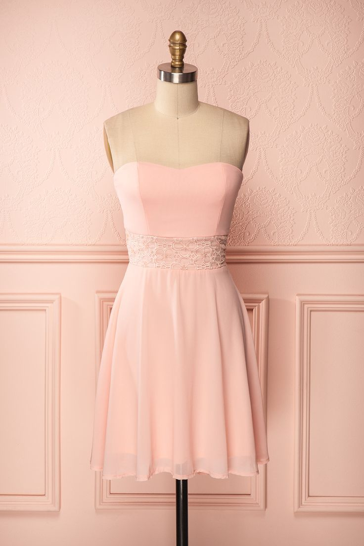 Delinela - Blush bustier dress with embroidered and beaded waist