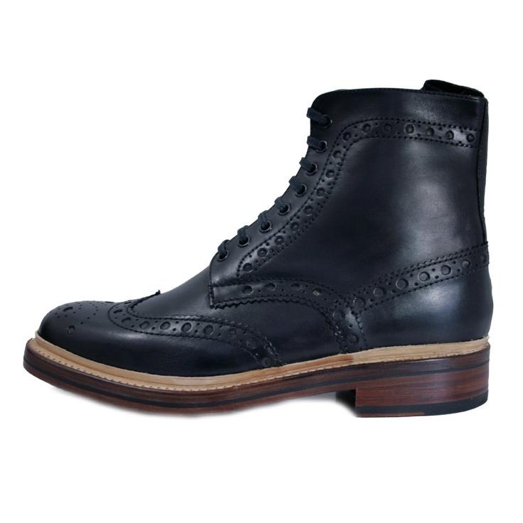 Grenson  Fred Calf Black Brogue Boots