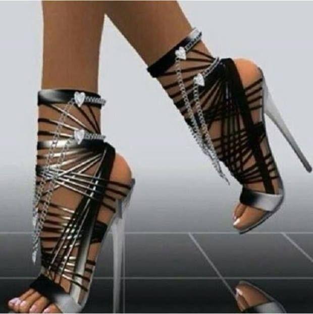 Fashion high heel metalic color #shoes