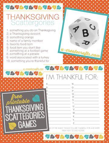 Free Printable - Thanksgiving Game & more ideas for Thanksgiving Family Fun!