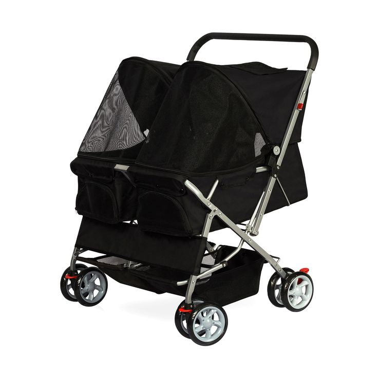 Paws pals twin carriage pet stroller black carrito