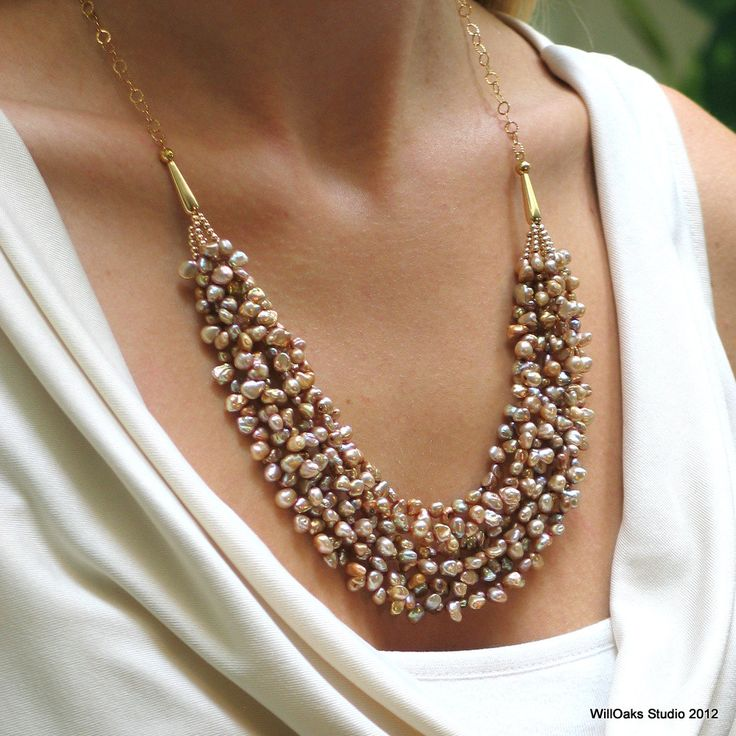 Keishi Pearl and Gold Bib Statement Necklace
