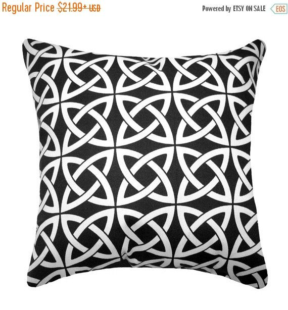 Modern Black Throw Pillow  Linked In Black by LandofPillowsDotCom