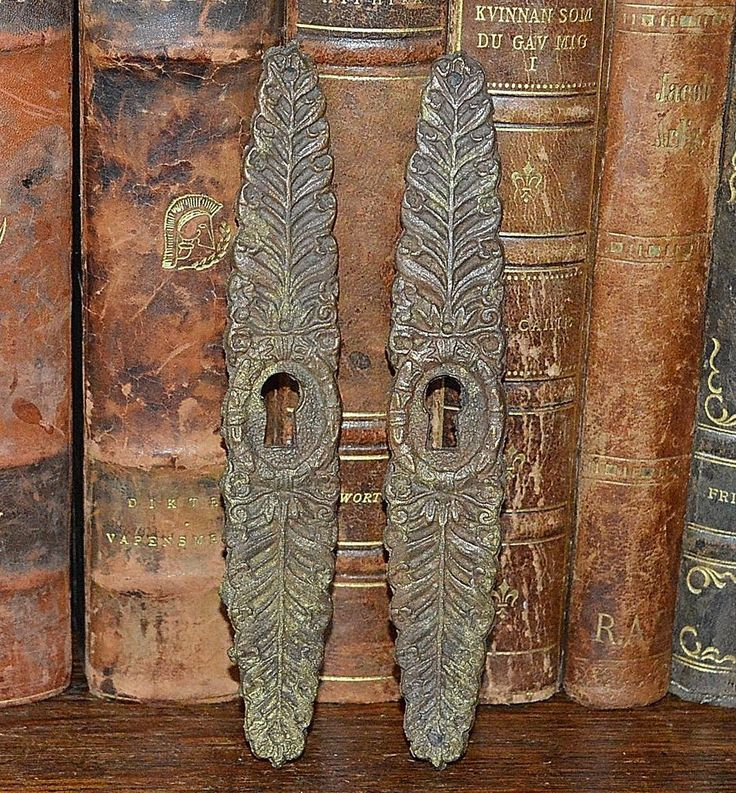 Antique French Vertical Escutcheon Pair Bronze Keyholes - vertical storyboard