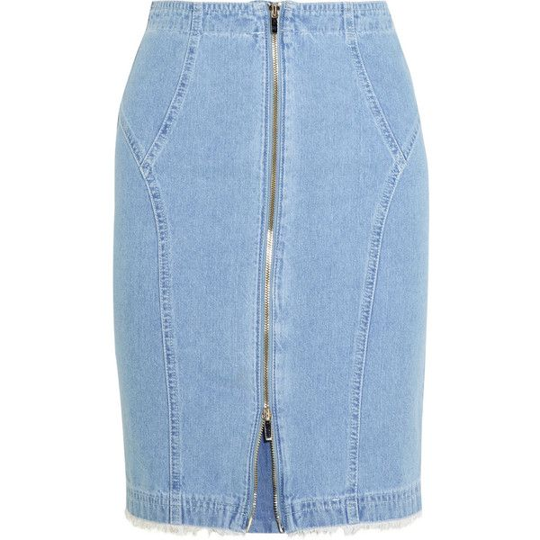 Steve J & Yoni P Denim pencil skirt ($125) ❤ liked on Polyvore featuring skirts, bottoms, юбки, denim, blue, denim pencil skirt, high-waisted pencil skirts, high waisted skirts, high-waist skirt and blue denim skirt