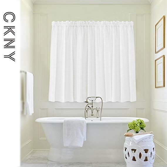 Amazon Com Waffle Woven Textured Short Curtains For Kitchen Water