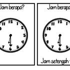 """Make simple yet effective flashcards which teach students how to tell the time (half past) and how to ask 'what time is is?"""" in Indonesian.    You wi..."""