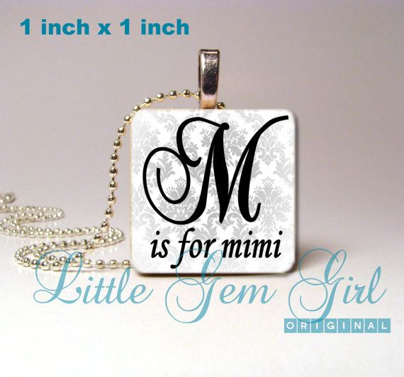 Mimi Necklace Pendant - Mimi Jewelry - M is for Mimi 1 inch Wood Tile for Mothers Day Custom Mom Mimi Nana Grandma Necklace Charm