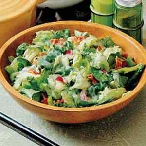 Greens With Hot Bacon Dressing (also known as Wilted Lettuce Salad). German Recipes.