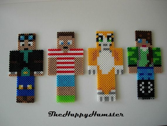 Minecraft Perler Bead Skins I Will Make A Custom One of Your Skin For The Same Price of 6.00 If You would like a custom one, please message me. Both Sides Are Ironed For Extra Durability 6 High You can also request Youtuber skins