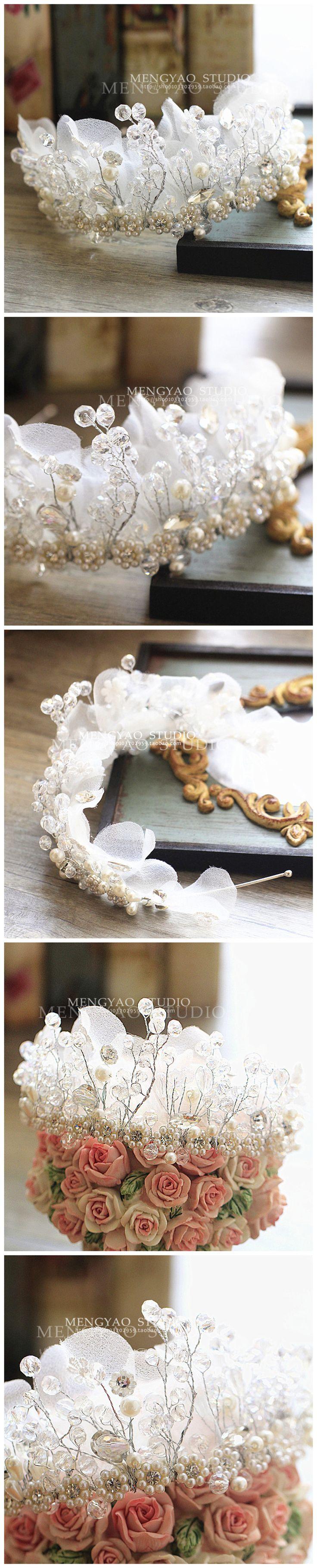 Корейские невесты корону украшения для волос ручной работы из бисера кристалл голову цветок головной убор повязка на лбу свадебное платье, короткие аксессуары для волос - Taobao