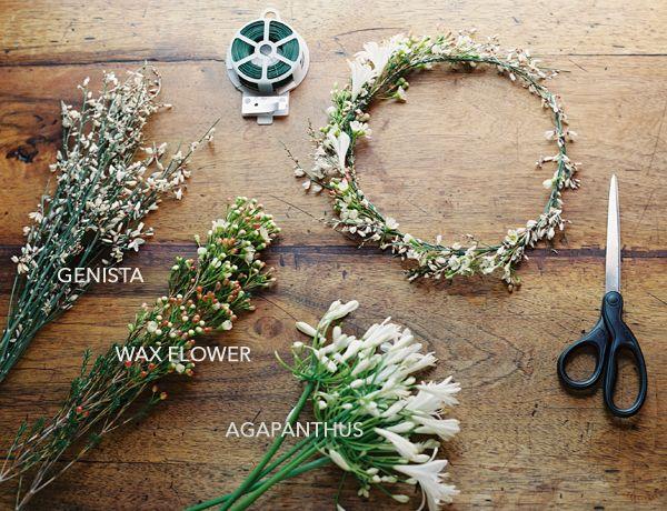 Wedding+Ideas:+diy-wedding-flower-crown-genista-wax-flower-agapanthus