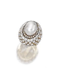 18 Karat Gold, Platinum, Cultured Pearl and Diamond Ring, David Webb - Sotheby's