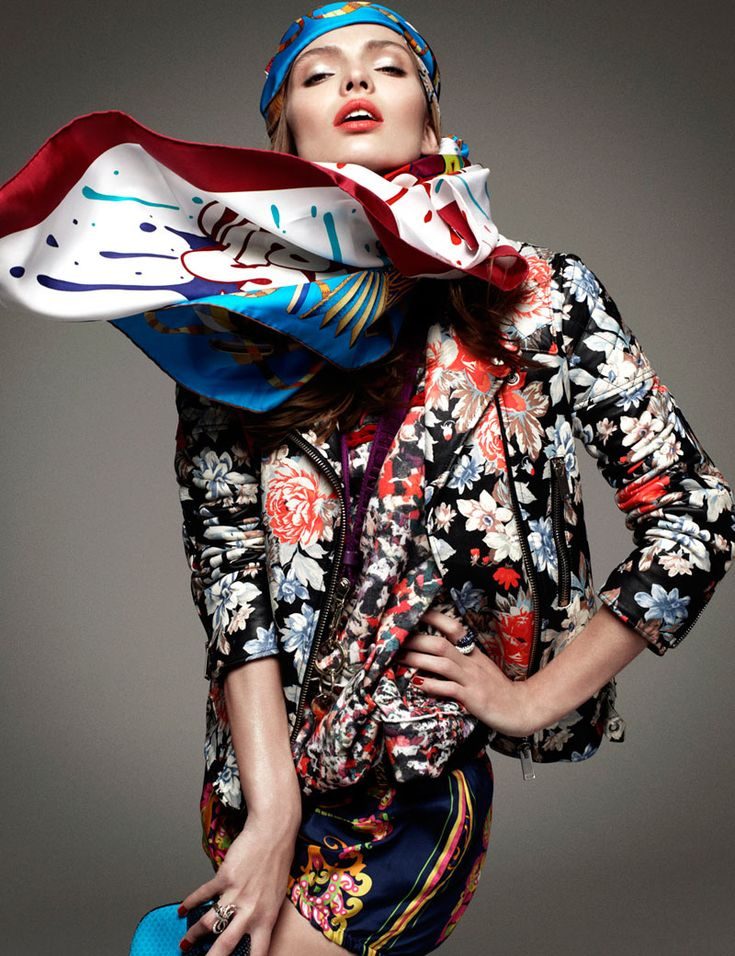 JACKET   Greg Kadel captures these colorfully dynamic studio images for the January cover shoot of Vogue Germany, starring Carola Remer. Styled by fashion editors Nicola Knels and Lynn Schmidt, Carola is a powerful vision in kaleidoscopic prints that pop. Windswept hair by Peter Gray and soft makeup by Itsuki bring the perfect finishing touch to the stunning ensembles. / Casting by Julia Lange