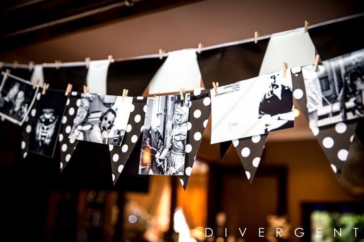 Black and white photo bunting