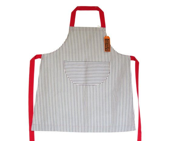 Womens cotton ticking apron with red ties. No 3 by ADogLikeSparky