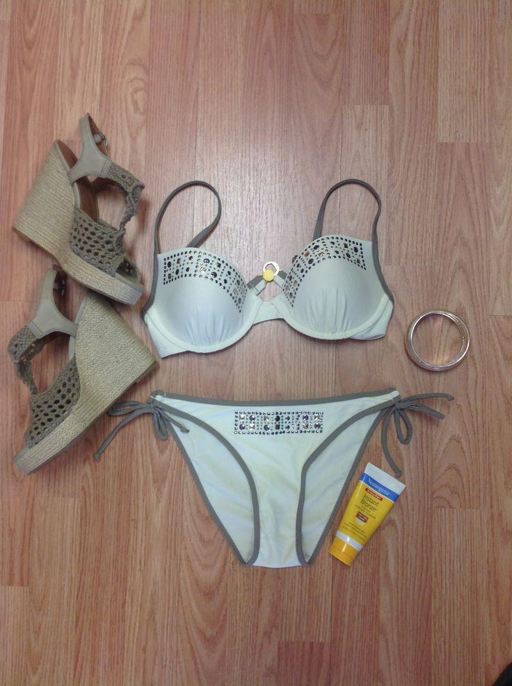 Cream Bikini with Studded Accents