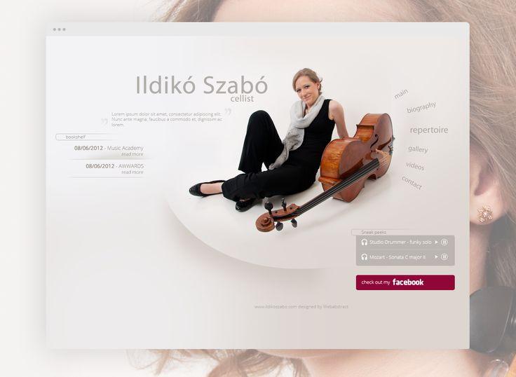 Ildikó Szabó cellist's webpage. #music #webdesign #ui