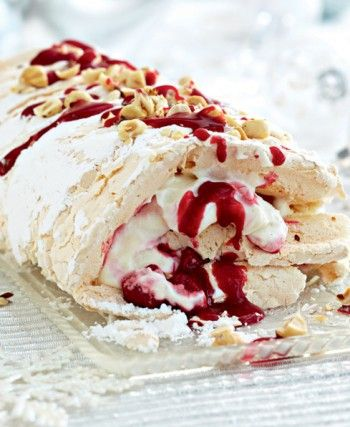 White- chocolate & raspberry meringue roulade