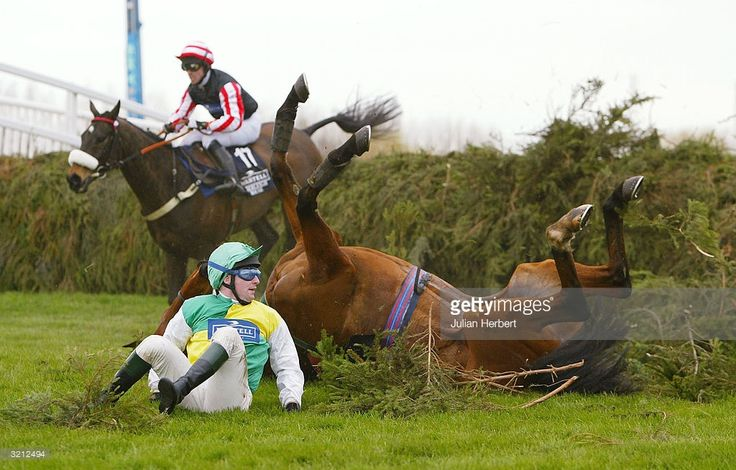 Graham Lee and Amberleigh house avoid Davey Casey and the falling Hedgehunter at the last fence before going on to land The Martell Cognac Grand National Steeple Chase Race run at Aintree Racecourse on April 3, 2004 in Aintree, England.