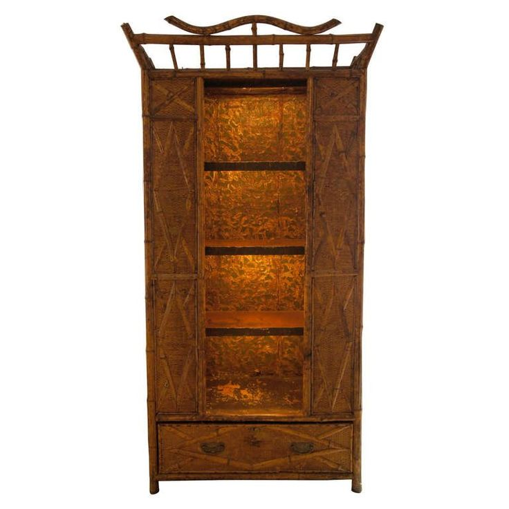 Bamboo and Seagrass 19th Century Victorian Armoire with Open Shelves | From a unique collection of antique and modern wardrobes and armoires at https://www.1stdibs.com/furniture/storage-case-pieces/wardrobes-armoires/