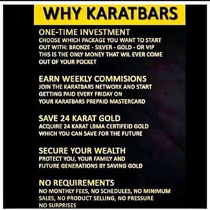 5 reasons why I chose KARATBARS INTERNATIONAL  1) To create another stream of income in a very unpredictable economy.  2) Creates residual income that will pay you weekly & monthly for life.  3) Nobody gets paid off of what you do or who you bring into the business.  4) You can grow this business at your own pace, the way that works best for u.  5) Its a international company so you get paid off of a worldwide turnover as the business grows https://www.karatbars.com/?s=milenagold