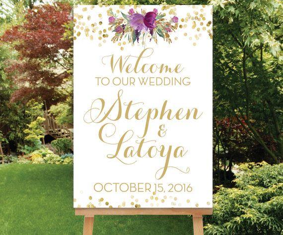 ゴールドの文字にパープルの花が高級感♡素敵な結婚式に♡パープルのウェルカムボードまとめ一覧♡