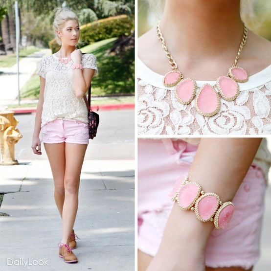 .: Pink Shorts, Girly Outfit, Fashion, Summer Outfit, Style, Pink Outfit, Pastel Pink, Jewelry, Lace Shirts