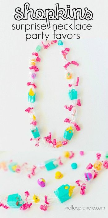 Making These! Shopkins party favors surprise necklaces. These ones have Shopkins Season 3 and are SO easy to make. You can also use as a special birthday necklace for a Shopkins lover.