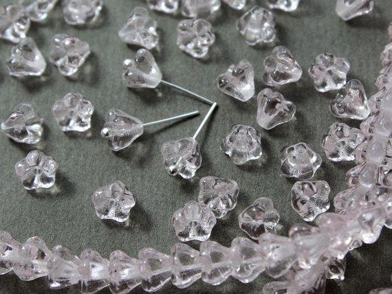 Czech glass Beads Bell Flower LtRosaline 25 by JewelryBeadsByKatie #Czechbeads #Glassbeads #beads #beadsupplies #CzechGlassbeads #flowerbeads