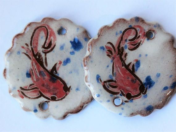 Set of 2 red fish connectors round white blue task asian