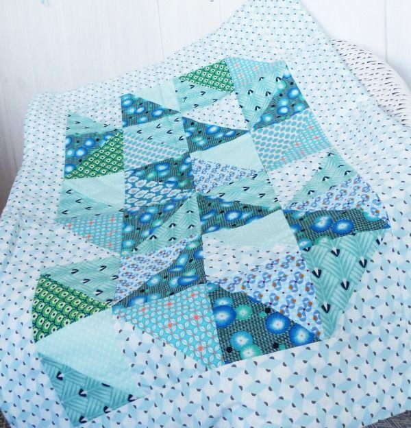 Plaid BOHÈME couverture couvre-lit berceau BOHÈME bleu, fleurs, turquoise : Puériculture par zig-et-zag