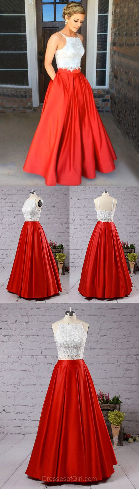 Fashion Two Piece Red Prom Dresses,Square Neck Satin Formal Party Gowns, Lace Open Back Evening Prom Dress